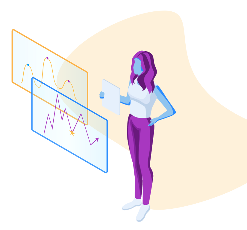 illustrated-woman-observing-loyalty-analytics-dashboards
