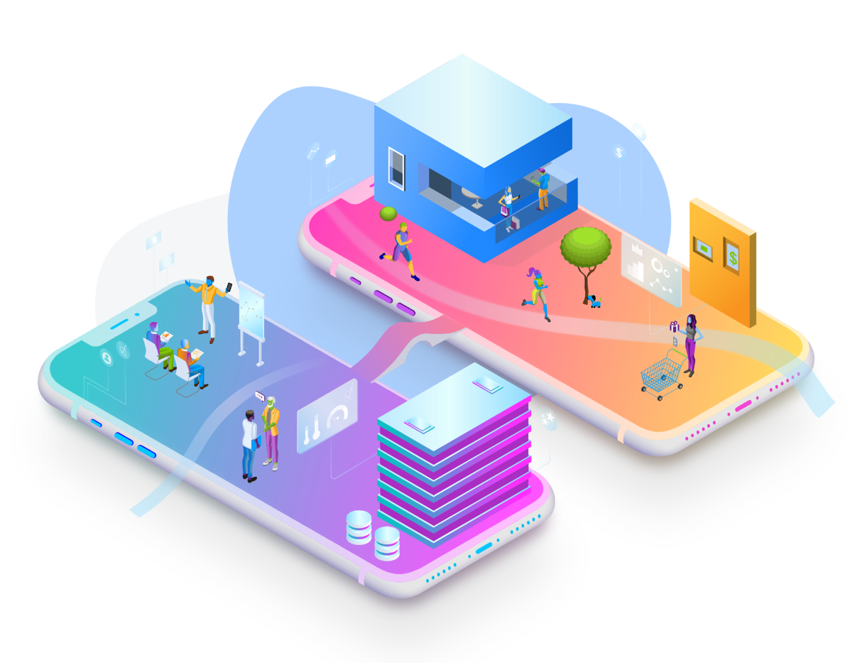 two-phones-with-illustrated-people-and-buildings-connected-with-custom-system-integrations